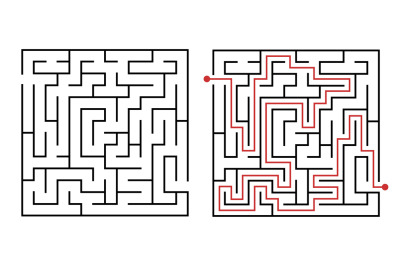 Labyrinth game way. Square maze, simple logic game with labyrinths way