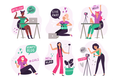 Cute blogger girls. Beauty bloggers create and post video content, smi