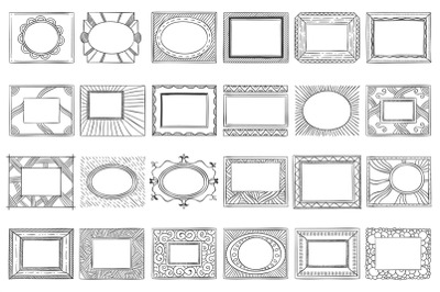 Hand drawn picture frames. Sketch frame, doodle style photo and art mi