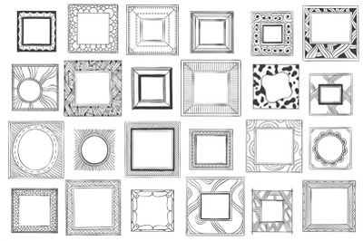 Square hand drawn frames. Sketch picture, doodle mirror or photo frame