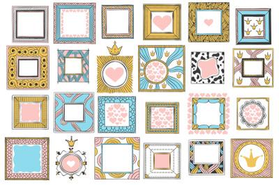 Hand drawn cute princess frames. Vintage color sketch frame, pink mirr