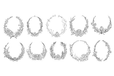 Hand drawn round floral frames. Sketch flower, leaves and branches dec