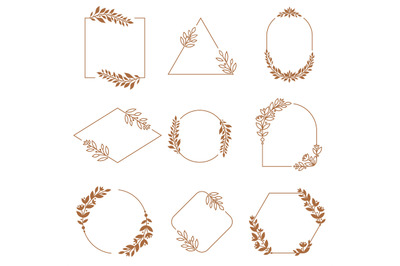 Floral ornament badge frames. Ornamental flowers, leaves and branches