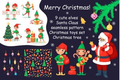 Christmas cartoon set with elves and Santa Clause