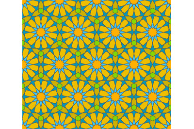 Seamless arabic geometric ornament in colours elements.