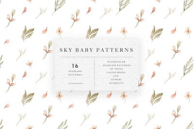 Watercolor Sky Baby Patterns