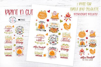 Thanksgiving Print n Cut Stickers