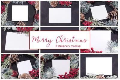 Merry Christmas. 8 cards mockups