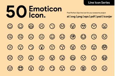 50 Emoticon Line Icons
