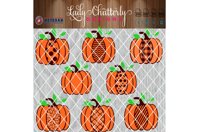 Fall Pumpkins with Patterns and Background