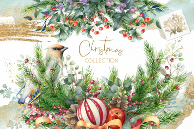 Christmas Watercolor Floral clipart, Xmas Winter wedding border