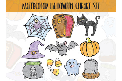 Funny Watercolor Halloween Clipart