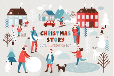 Christmas story - illustration set