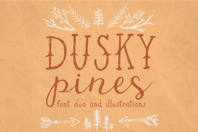 Dusky Pines Font Duo + Illustrations