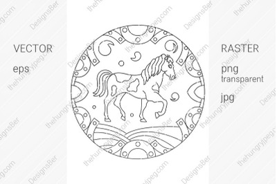Coloring page with animals. Horse