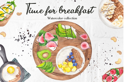 Time for breakfast. Watercolor collection