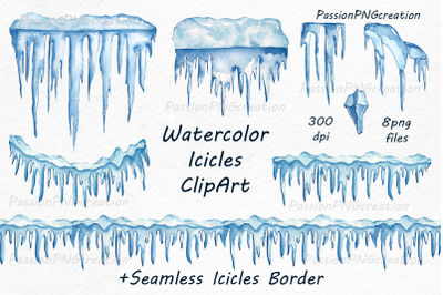 Watercolor icicles clipart