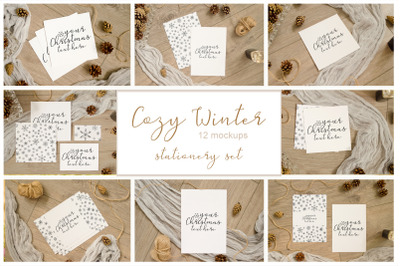 Cozy Winter. Set of 12 stationery mockups