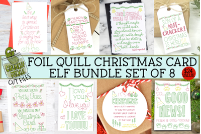 Foil Quill Bundle - 8 Elf Christmas Cards &2F; Single Line SVGs