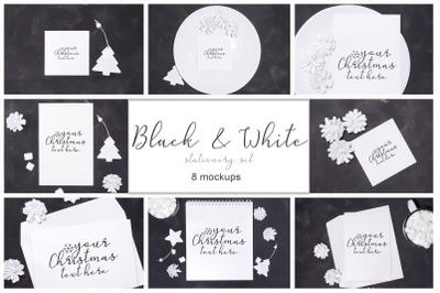 Black&White. Stationery christmas mockup set