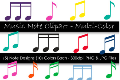 Music Note Clipart - Colorful Music Notes