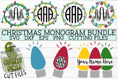 Christmas Lights Monogram Frame SVG Bundle