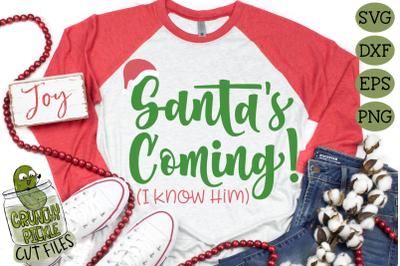 Santa's Coming Elf Phrase Christmas SVG File