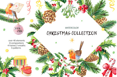 Christmas collection.Watercolor.