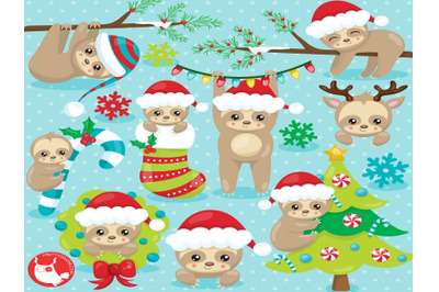 Christmas Sloth Clipart