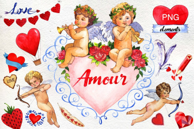 Love amour celebration PNG set