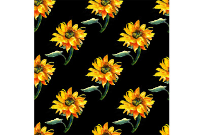 Seamless pattern with sunflowers.