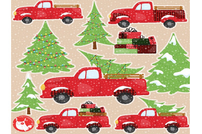 Christmas Vintage Truck clipart