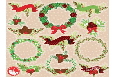 Christmas Vintage Wreaths Clipart