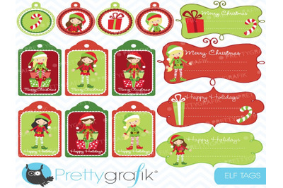 Christmas elves label Clipart