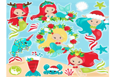 Christmas Mermaid Clipart