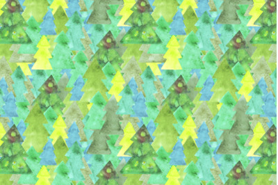 watercolor christmas trees seamless pattern