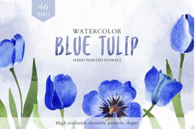 Tulip watercolor clipart Blue png
