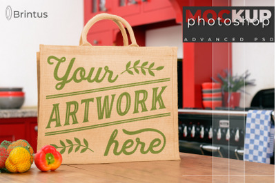 Photoshop mock up Burlap shopping-bag, tote bag mock-up, jute bag