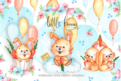 Watercolor Little Bunnies Illustrations
