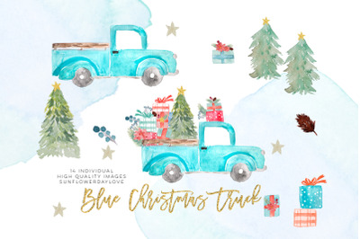 Watercolor Christmas Truck Clip art, Truck with Christmas Tree