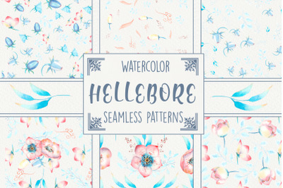 Seamless patterns with pink hellebore flowers