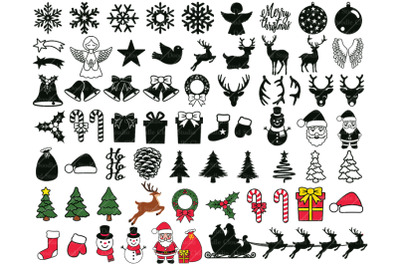 65 Christmas Ornaments Elements SVG. Christmas Clipart PNG.