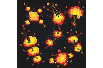 Cartoon Explosion Cloud Set. Vector illustration
