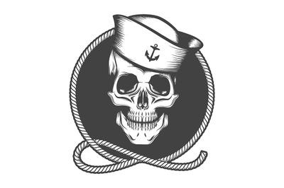Skull in a Sailor Hat on a Marine Rope Loop Emblem