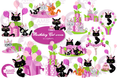 Birthday cat scenes clipart pack AMB-2671