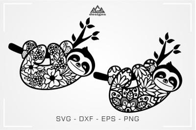 Sloth Floral Mandala Pattern Svg Design