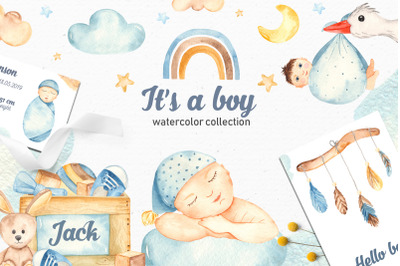 It's a boy watercolor collection clipart