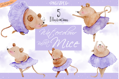 Watercolor Ballet Mice | 5 Clip Art Illustrations | PNG/JPG