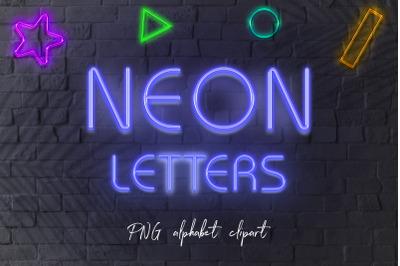 Blue Neon Letters Clipart