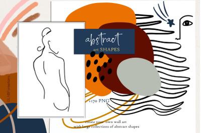Abstract shape art clipart. Terraconna & navy blue